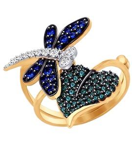 Кольцо-трансформер из золота с фианитами и синими и зелеными фианитами 017122