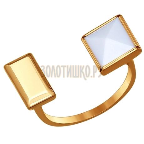 Кольцо из золота с ситаллом-кахолонгом 017127