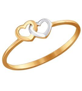 Тонкое золотое кольцо «Два сердца» 017128