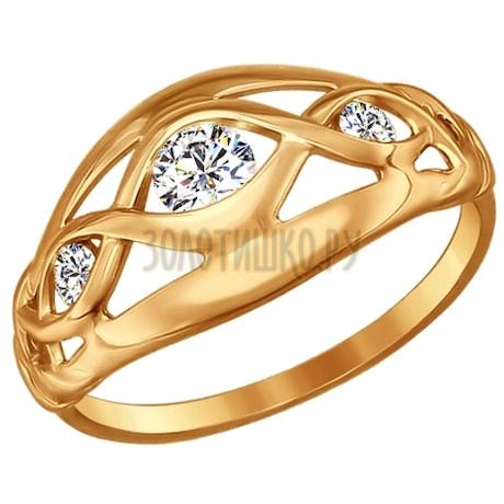 Кольцо из золота с фианитами 017143