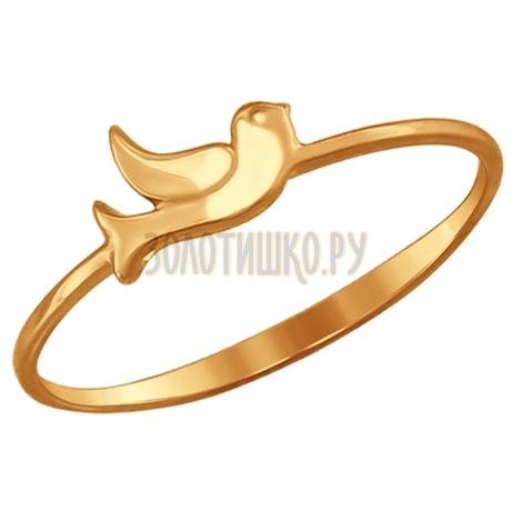 Тонкое золотое кольцо с птичкой 017179