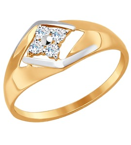 Кольцо из золота с фианитами 017232