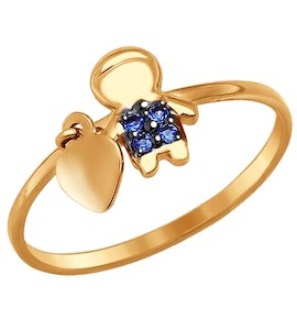 Кольцо «Мальчик» из золота с фианитами 017240