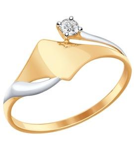 Кольцо из золота с фианитом 017287