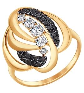 Кольцо из золота с бесцветными и чёрными фианитами 017329