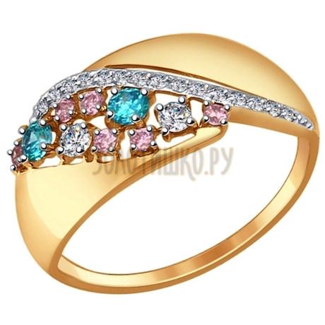 Кольцо из золота с зелёными, розовыми и бесцветными фианитами 017344