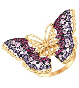 Кольцо из золота с розовыми, красными и сиреневыми фианитами 017392