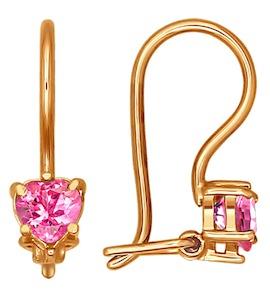 Детские серьги с розовым камнем 020368