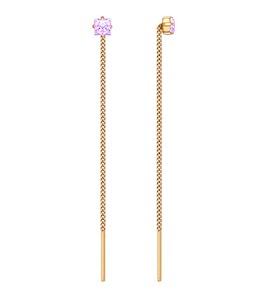 Серьги-цепочки из золота с сиреневыми фианитами 020607