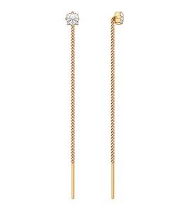 Серьги-цепочки из золота с фианитами 020608