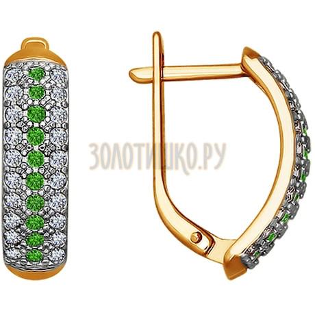 Серьги из золота с зелеными фианитами 020879