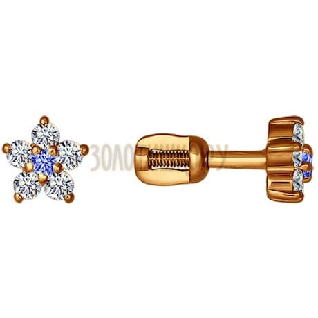 Серьги-пусеты из золота с голубыми фианитами 020914