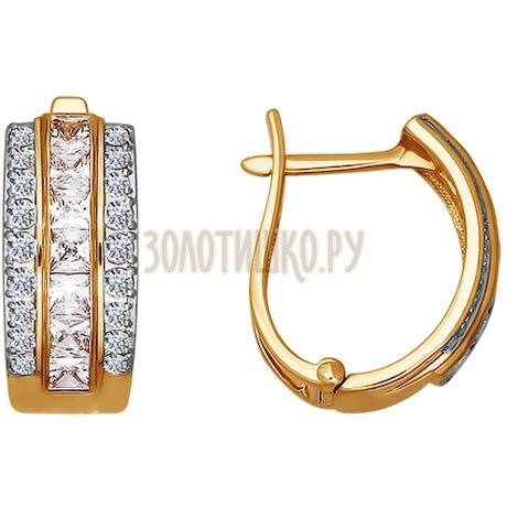 Серьги из золота с фианитами 020976