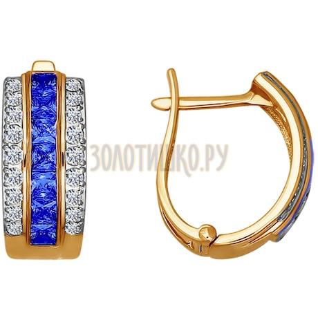 Серьги из золота с голубыми фианитами 020980