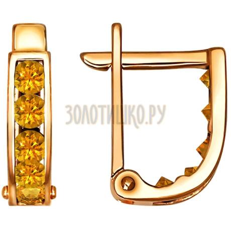 Серьги из золота с жёлтыми фианитами 021863