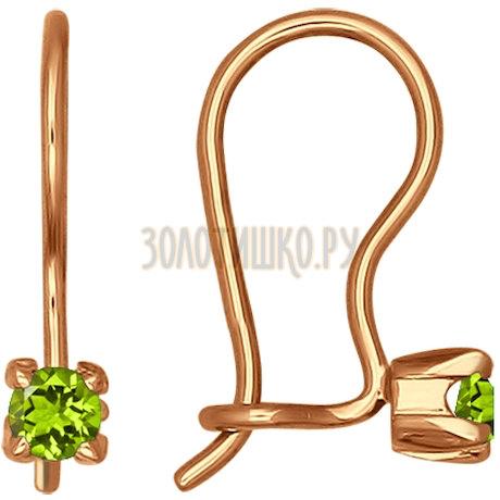 Серьги из золота с зелеными фианитами 021938