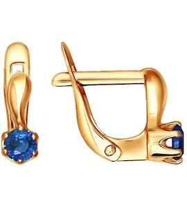 Детские серьги из золота c глубоким голубым фианитом 022173