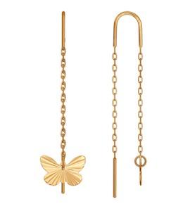 Серьги-цепочки из золота с алмазной гранью 022551