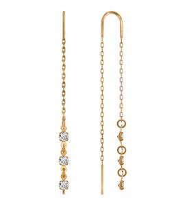 Серьги-цепочки из золота с тремя фианитами 022807
