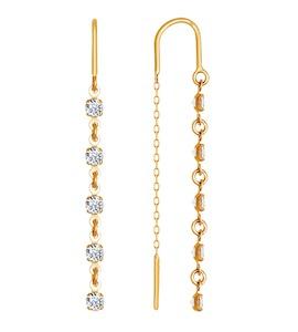 Серьги-цепочки из золота с пятью фианитами 022813