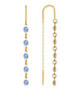 Серьги-цепочки из золота с голубыми фианитами 022814