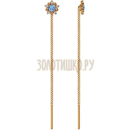 Серьги-цепочки из золота с голубыми фианитами 024797