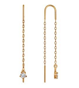 Серьги-цепочки из золота с фианитами 025593