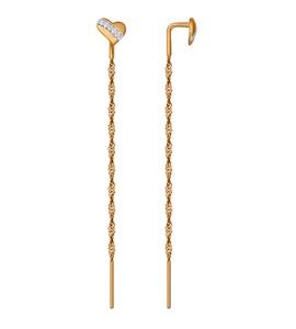 Серьги-цепочки из золота с фианитами 025971