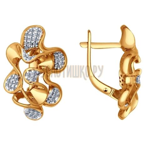 Серьги из золота с фианитами 026274