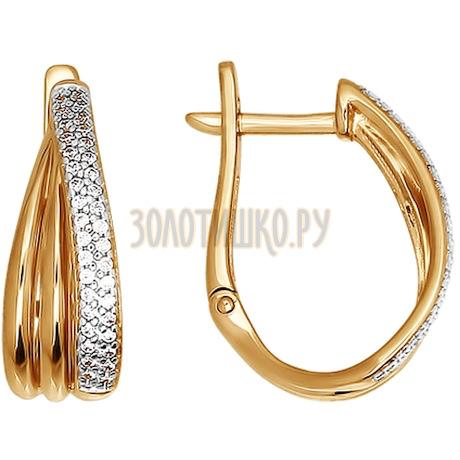 Серьги из золота с фианитами 026331
