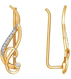 Серьги-зажимы «Музыкальный ключ» из золота с фианитами 026396