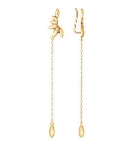 Молодёжные серьги-зажимы из золота с фианитом 026398
