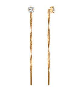 Серьги-цепочки из золота с фианитами 026509
