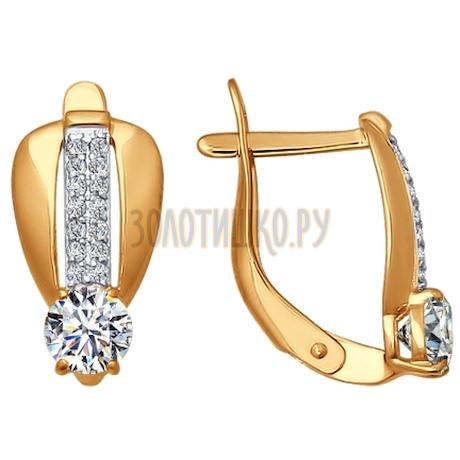 Серьги из золота с фианитами 026596