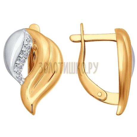 Серьги из золота с фианитами 026737