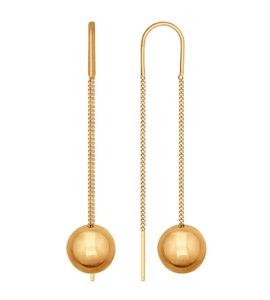 Золотые серьги-цепочки с подвеской в форме шара 026750