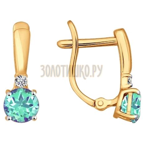 Серьги из золота с зелеными фианитами 026828
