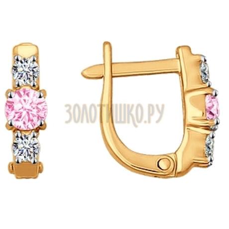 Серьги из золота с розовыми фианитами 026839