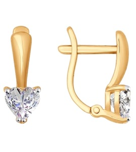 Серьги из золота с фианитами 026923