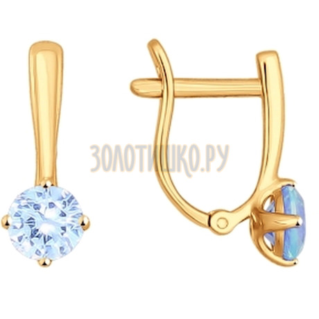 Серьги из золота с фианитами 026930