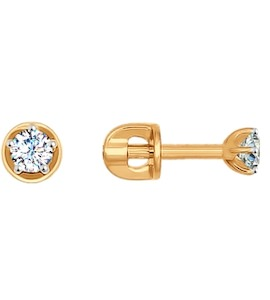 Серьги-пусеты из золота с фианитами 026932