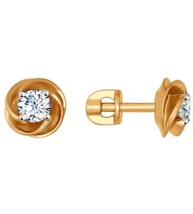 Серьги-пусеты из золота с фианитами 026982
