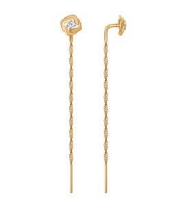 Серьги из золота с фианитами 027011
