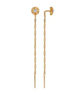 Серьги из золота с фианитами 027012