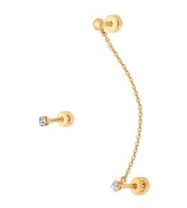 Серьги каффы из золота с фианитами 027028