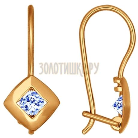 Серьги из золота с голубыми фианитами 027221