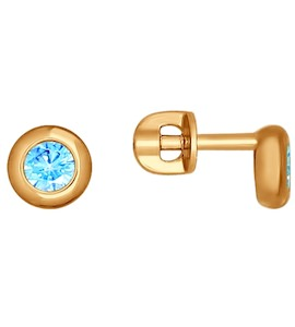 Серьги-пусеты из золота с фианитами 027241
