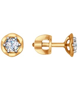 Серьги-пусеты из золота с фианитами 027435