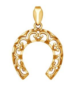 Аккуратная золотая подвеска в форме подковы 034519