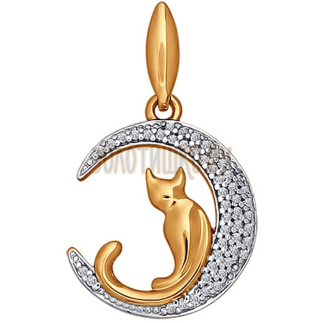Подвеска «Кошечка на луне» из золота с фианитами 034577
